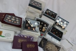 Lot 93 - Sold for £650 - A large collection of Royal Mint United Kingdom Proof coin sets, each cased including 1970 (three sets), 1971 (Three sets), 1972, 1973, 1974, 1975, 1976, 1977, 1978, 1979, 1980, 1981 (two sets), 1982, 1983, 1984 (two sets), 1985 (two sets), 1986 (three sets), 1987 (two sets),1988 (two sets), 1989 (two sets), 1990 (Two sets),1991 (two sets),1992 (two sets), 1993 (two sets), 1994, 1995, 1996, 1997, 1998, 1999, 2000, 2001, 2002, 2003, 2004, 2005,