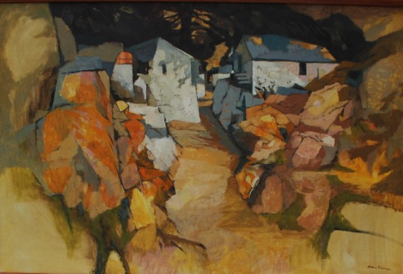 John Elwyn - Cottages on a lane, Oil on canvas. Signed 60cm x 90cm