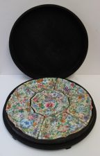 A Chinese polychrome decorated sectional dish profusely decorated with flower heads and leaves, cased, 40cm diameter. Sold for £1,100 at Anthemion Auctions