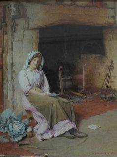 Charles Edward Wilson - An interior scene with a figure seated by a fireplace reading a letter, Watercolour. Signed and dated 1905. 41 x 31.5cm. Sold for £850 at Anthemion Auctions