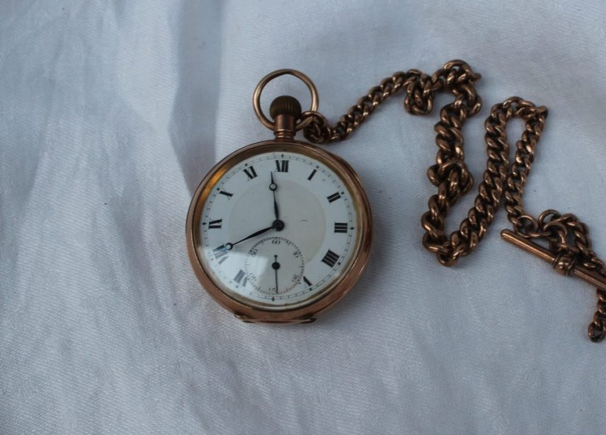 A 9ct yellow gold keyless wound open faced pocket watch, the circular dial with Roman numerals and a seconds subsidiary dial together with a 9ct yellow gold albert chain, approximately 45 grams, 34.5cm long. Sold for £680 at Anthemion Auctions