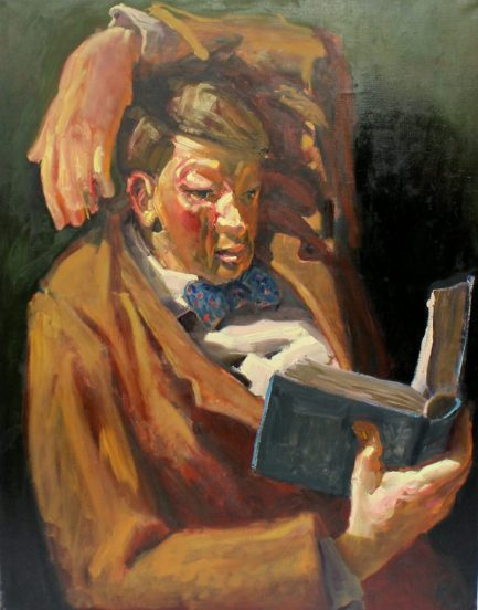 Kevin Sinnott - Great Book II. Oil on canvas. Initialled Bernard Jacobson Gallery labels verso dated 1988 150 x 115.5cm. Sold for £1,100 at Anthemion Auctions