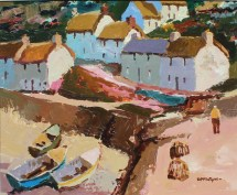 Donald McIntyre - Above the Harbour, Oil on board. Signed and label verso 50 x 60cm . Sold for £7,800 at Anthemion Auctions