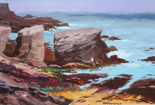 Donald McIntyre - Rocky Shore Anglesey No. 1, Oil on board. Signed and label verso Martin Tinney Gallery label verso also 51.5 x 76cm. Sold for £3,800 at Anthemion Auctions
