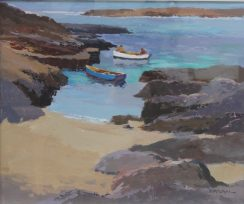 Donald McIntyre - Fishing boat and Jetty. Sold for £2800 at Anthemion Auctions