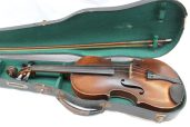 """A French violin, with a two piece back and ebonised stringing, bears a label """"Antonius Stradivarius cremona faciat anno 1690"""""""