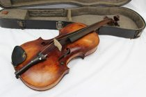 "A German violin with a one piece back, ebonised stringing, bears a label ""Francisco Ruggeri"". Sold for 170 at Anthemion Auctions"