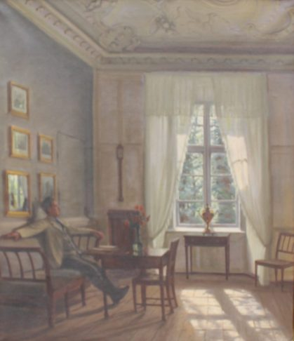 Sigvard Hansen - A gentleman seated in an interior scene, Oil on canvas. Signed and dated 1927 58 x 50cm. Sold for £900 at Anthemion Auctions