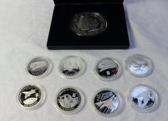 A collection of Westminster silver coins relating to Concorde milestones, including the last commercial flight, Concorde New York to London record, Concorde's first commercial flight etc Sold for £170 at Anthemion Auctions