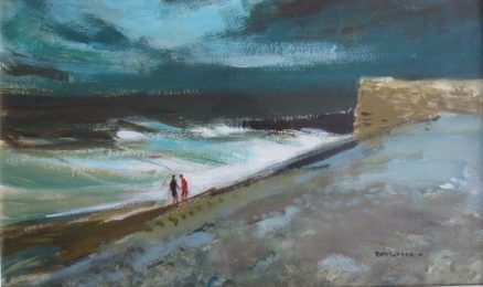 Donald McIntyre - Breakers, Acrylics on paper. Sold for £2000 at Anthemion Auctions