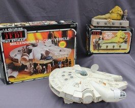Star Wars - A Millennium Falcon vehicle, made by Palitoy , 1983, boxed, together with a Jabba the Hut action playset, boxed. Sold for £120 at Anthemion Auctions