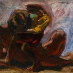 Kevin Sinnott - Study for Down to Earth, Oil on board. Initialled, Bernard Jacobson Gallery labels verso 28 x 32.5cm. Sold for £350 at Anthemion Auctions