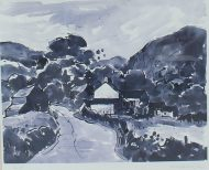 "Sir Kyffin Williams R.A (British, 1918-2006) - ""Rhwng Dwy Afon: Y Gyffylliog/Hendre"" Signed Kyffin W"" in pencil (lower right) An Artists proof print. Sold for £270 at Anthemion Auctions"
