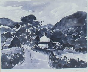 """Sir Kyffin Williams R.A (British, 1918-2006) - """"Rhwng Dwy Afon: Y Gyffylliog/Hendre"""" Signed Kyffin W"""" in pencil (lower right) An Artists proof print. Sold for £270 at Anthemion Auctions"""
