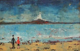 """Jack Jones - A beach scene with a lighthouse in the distance, Oil on board. Signed and dated '91 Inscribed verso """"With love from Jack, London, 23/7/91 17 x 26.5cm. Sold for £1,700 at Anthemion Auctions"""