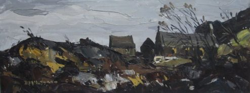 Donald McIntyre - Church in Lleyn, Oil on canvas Signed and labels verso Canvas painted on both sides 29 cms x 75 cms. Sold for £3,000 at Anthemion Auctions