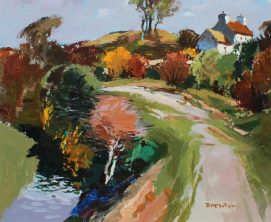 Donald McIntyre - Lane Anglesey, Oil on board, Signed and label verso. Sold for £4,500 at Anthemion Auctions