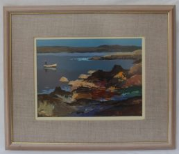 Donald McIntyre - Two cobbles Craster, Oil on board, 29 x 39cm. Sold for £1,700 at Anthemion Auctions