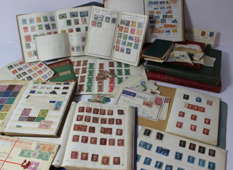 An extensive stamp collection of world stamps including seven Victorian Penny Blacks, sheets of Penny Reds and Two Penny Blues etc contained within stamp albums and books. Sold for £4,300 at Anthemion Auctions