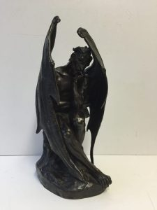 Jean-Jacques Feuchère 1807 - 1852 Satan, L'ange Dechu Signed and dated: Feuchere 1833 Bronze, dark brown patina 34.5cm high. Sold for £8,000 at Anthemion Auctions