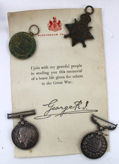 A set of four World War 1 medals including a British War Medal and Victory Medal, issued to 6599 Cpl. G. Mills, Hamps. R. 1914 Star issued to 6599 Pte. G. Mills I/ Hamps. R and a George V Medal for Bravery in the Field issued to 6559 Cpl. G Mills. I/Hants. R. and memorial certificates. Sold for £1,350 at Anthemion Auctions