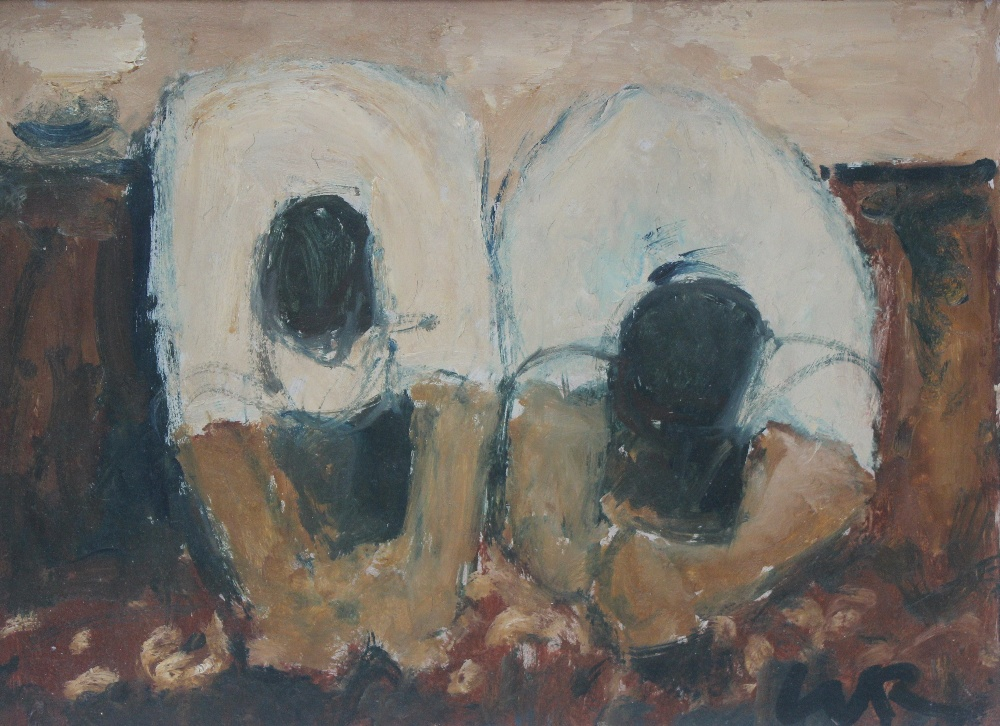 "Will Roberts - ""Gathering potatos"", Oil on board. Initialled 26 x 36 cm Board inscribed and dated 1973 verso, also bears and Oriel Mostyn gallery label, for a Will Roberts exhibition held in 1993. Sold for £900 at Anthemion Auctions"
