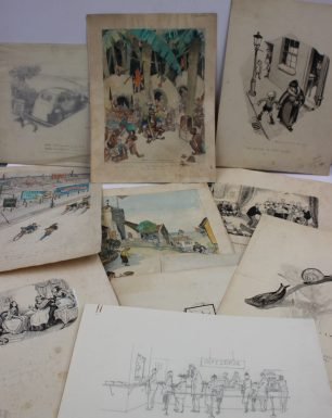 Harold William Hailstone, a collection of original cartoon sketches, including, cyclists, Coronation sketches, interior scenes etc, with annotations for publication. Sold for £320 at Anthemion Auctions
