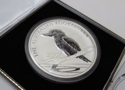 A 2007 Kookaburra pure Silver Kilo Coin, issued by the London Mint Office, with Certificate, in original box and sleeve. Sold for £750 at Anthemion Auctions