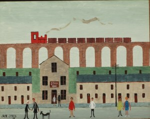 "Jack Jones - A Viaduct with a train above a village street, Oil on board. Signed and dated '91 19 x 24.5cm Inscribed verso ""with love from Jack, London, 23/7/91. Sold for £5,200 at Anthemion Auctions"