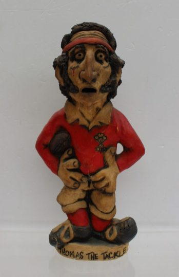 "A John Hughes pottery Grogg titled ""Thomas the tackle"", signed to the base, 30.5cm high. Sold for £330 at Anthemion Auctions"
