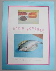 "After David Hockney, (Born 1937) ""The Fish and Bread, 1995"" A Poster for the Museum Baymans, Van Beuningen, 84 x 59.5cm Mounted. Sold for £45 at Anthemion Auctions"