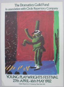"After David Hockney, (Born 1937) Detail from ""Pulcinella with Applause"" A poster for The Dramatists Guild Fund in association with Circle Repertory Company 104 x 77cm Together with two others including ""Igor Stravinsky"" for Metropolitan Opera, 96 x 43cm and ""Drop Curtain for 'Rakes Progress' Glydebourne, with addition for La Scala, Milan, 1979"" for the Ashmolean Museum, Oxford. Sold for £220 at Anthemion Auctions"