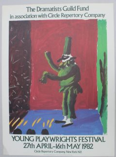 """After David Hockney, (Born 1937) Detail from """"Pulcinella with Applause"""" A poster for The Dramatists Guild Fund in association with Circle Repertory Company 104 x 77cm Together with two others including """"Igor Stravinsky"""" for Metropolitan Opera, 96 x 43cm and """"Drop Curtain for 'Rakes Progress' Glydebourne, with addition for La Scala, Milan, 1979"""" for the Ashmolean Museum, Oxford. Sold for £220 at Anthemion Auctions"""