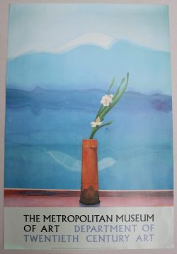 """""""Portrait of an Artist (pool with two figures) A Poster for the Metropolitan Museum of Art 76 x 94cm Together with two others """"The set for Parade, 1980"""", for Riverside Studios, 99 x 68.5cm and """"Mount Fuji and Flowers"""" for the Metropolitan Museum of Art, 91 x 61cm. Sold for £200 at Anthemion Auctions"""