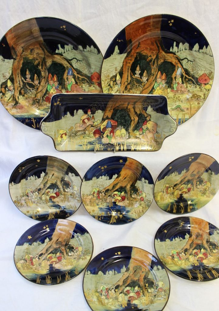 Lot 313 - Estimates: £200 - 300. Various Royal Doulton Gnomes series ware plates, pattern number D4697, including a rectangular dish, 28cm wide, six side plates, 16cm diameter and two dinner plates, 26cm diameter