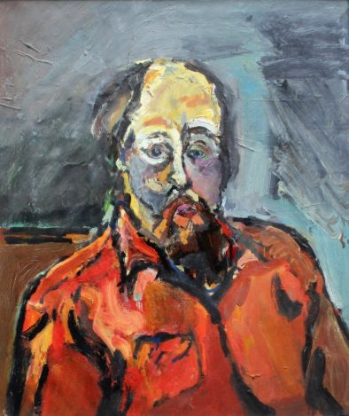 Lot 536 - Estimates: £1,500 - 2,000. Peter Prendergast Self portrait in red Oil on paper Label verso 48 x 40.5cm Mostyn Art Gallery and Albany labels verso