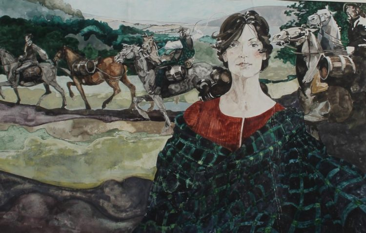 """Lot 125 - Estimates £100 - 120, Sue Shields A wagon train with a figure in the foreground Watercolour Together with a Welsh Arts Council poster titled """"Maggie Fach"""" and another of a Carmarthenshire Blacksmith"""
