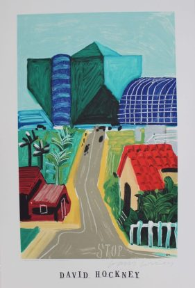 """After David Hockney, (Born 1937) """"Hancock st, west Hollywood I, 1989"""" A poster published by Mirage editions Signed in pen 91.5 x 61cm. Sold for £370 at Anthemion Auctions"""