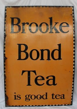 "22nd August Fine Sale - Collector's Lot 430. A large enamel sign ""Brooke Bond Tea is good tea"" with a chequer edge black script and Orange background, 152 x 101.5cm"