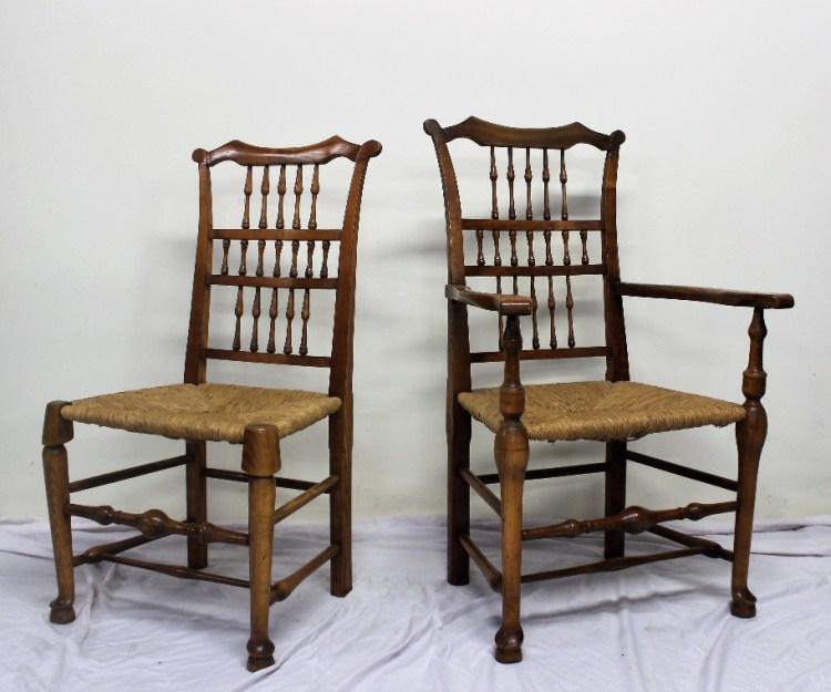 A set of ten Liverpool ash spindle back dining chairs – Lot 525