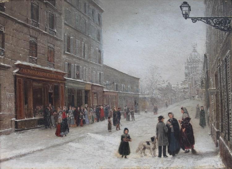 A winter's scene of Rue du Val de Grace