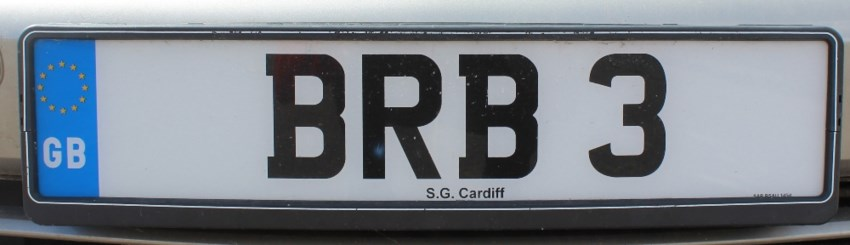 "Sold for £4,500. A Cherished number ""BRB 3"" on retention"