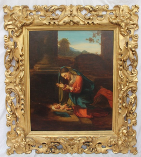Sold for £1,050. In the style of CorreggioAdoration of the childOil on canvas80 x 65.5cm (image size)122 x 107cm (Frame sizeIn a carved and gilt frameThe original painting dates from around 1526 and is housed in the Uffizi Gallery of Florence, Italy