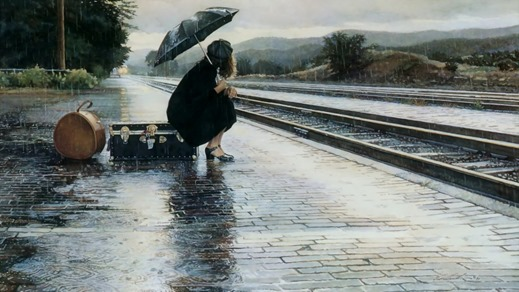 girl-woman-rain-umbrella-train-railway-station-platform-suitcase