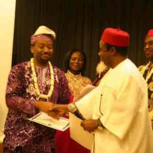 Mr. Onwutalobi receiving an award from Former Governor of Anambra State. Dr Ezeife