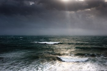 rough seas during a storm off of Falmouth, Cornwall