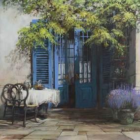 "A Terrace Door, Paris | 36"" x 36"" acrylic on canvas"