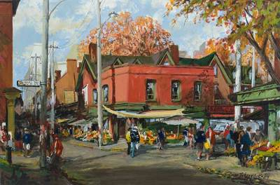 "Afternoon in Kensington Market | 20"" x 30"" acrylic 