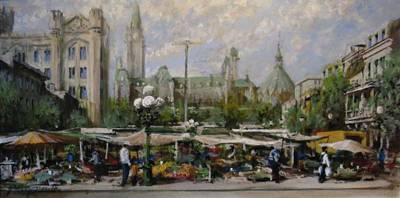 "Byward Market and Parliament Hill, Ottawa |  12"" x 24"" acrylic"