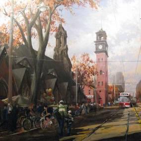 "Eastbound Streetcar on College, Toronto,  Kensington Market | 36"" x 36"" acrylic on canvas"